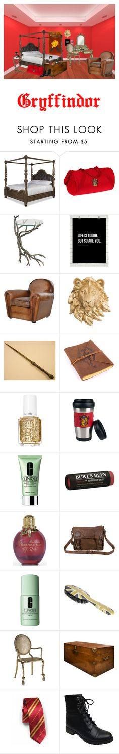 """""""Gryffindor Bedroom"""" by ontic ❤ liked on Polyvore featuring interior, interiors, interior design, home, home decor, interior decorating, Essie, Clinique, Burt's Bees and VIPARO"""