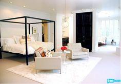 rachel zoe bedroom, all white bedroom, high gloss black doors, white rug, pendant, amazing black bed. I love all of it!
