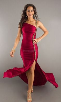 Burgundy Mermaid/Trumpet Asymmetrical Natural Sleeveless Long/Floor-length Prom Dresses PD3040