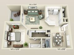 One Bedroom Apartment Floor Plans 3d two bedroom small house plans under 1000 sq ft 3d designs with