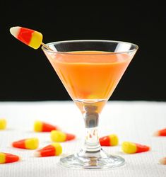 Sparkling candy corn-infused vodka cocktail #Halloween #cocktails