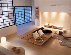 Wohnzimmer im asiatischen Stil einrichten - niedrige Möbel