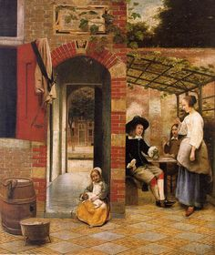 Pieter de Hooch - Drinkers in the Bower  1658