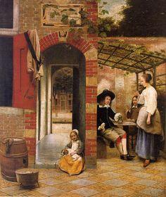Pieter de Hooch - Drinkers in the Bower  1658