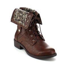 Refresh REFRESH DASON-03 Women's Cuff Military Low Heel Lace up Mid-calf Riding Combat Boot