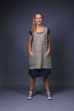 Natural linen apron