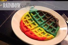 Fun dinner idea the kids can help with! // rainbow waffles!