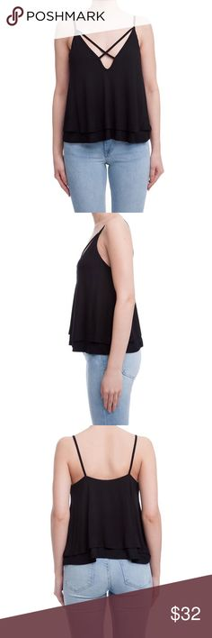 Christine Tank Lush Clothing Line crisscross detail two layer tank top. Color: Black Lush Tops Tank Tops