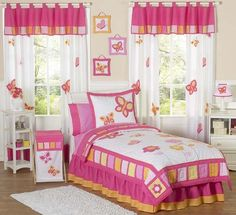 Shop for Sweet JoJo Designs Butterfly Girls Queen-size Quilt Set - Pink/White. Get free delivery On EVERYTHING* Overstock - Your Online Kids Bedding Store! Butterfly Bedding Set, Butterfly Bedroom, Orange Bedding, Pink Bedding, Girls Bedding Sets, Queen Comforter Sets, Twin Comforter, Twin Size Girl Bed, Queen Size Quilt Sets