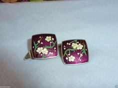 Vintage Sterling Silver Purple Enamel Cufflinks W/ Flowers RARE GORGEOUS!!!
