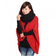 2012 Новый стильный Женская Batwing Кабо пончо кардиган свитер Трикотажные  топы шаль пальто 3 цвет Bat 3f544a399b9