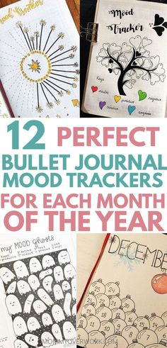 Bujo inspiration to track your emotions daily! DIY these monthly BULLET JOURNAL MOOD TRACKER examples for every month of the year. January winter, February heart tree, simple March green leaf, April raindrop shower, May floral flower, June summer bug, July fireworks, August ice cream, September paper airplane, October Halloween ghosts, November Thanksgiving fall maple leaf, December Christmas ornament. See my printables post for a free printable mood tracker