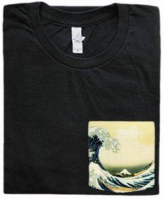 The Great Wave off Kanagawa Pocket Shirt by GrayClothing on Etsy