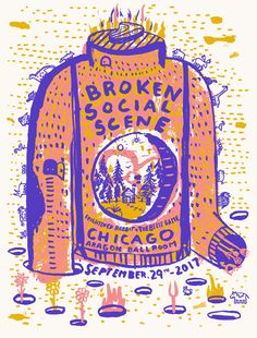 Broken Social Scene Poster // with Frightened Rabbit // The Bubble Process // $25