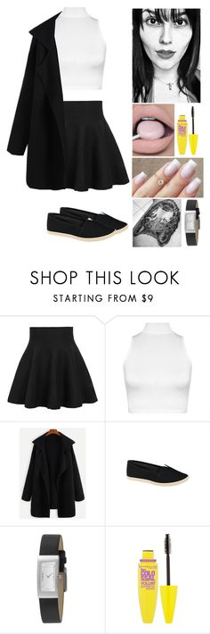 """""""00315."""" by annacastrolima ❤ liked on Polyvore featuring WithChic, WearAll, DKNY, GET LOST, Maybelline, blackandwhite and wolftattoo"""