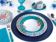 Até 70% OFF + até 15% à vista + Frete Grátis*, VEM! Aparelho de Jantar Chá 30 Peças Casambiente - Porcelana Redondo Colorido Madrid APJA029