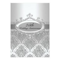 Shop Silver Damask Wedding Anniversary Invite created by Zizzago. Create Your Own Invitations, Custom Invitations, Anniversary Wishes For Parents, Anniversary Cards, Wedding Anniversary Invitations, Silver Anniversary, Wedding Cards, Invite, Vintage Photos