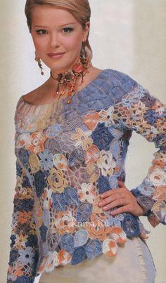 Irish crochet lace shirt with flowers and leaf motifs  Оригинальный пуловер из мохера: ирландское кружево крючком + спицы. Обсуждение на LiveInternet - Российский Сервис Онлайн-Дневников