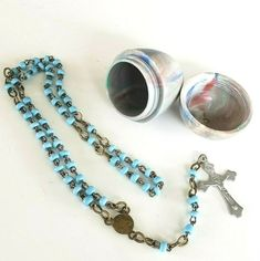 "Vtg France Tiny Rosary Celluloid Egg Case St Anne Powder Blue Seed Bead 8.5"" St Anne, Religious Jewelry, Seed Beads, Seeds, Egg, Powder, Pendants, France, Shop"