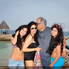 Actress Sridevi along with husband Boney Kapoor and her daughters Jhanvi and Kushi during their New Year holidays