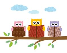 Owls reading books on a tree branch  print / poster by JJArtWorld