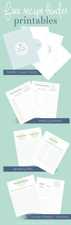 Free recipe binder and meal plan printables