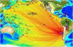 Mapa despliegue maremoto Chile 27f 2010