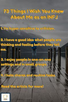 Discover what it's like to be an INFJ https://ispeakpeople.com/infj/?utm_campaign=coschedule&utm_source=pinterest&utm_medium=I%20SPEAK%20PEOPLE%20%20%20%20%20Introvert%20%2B%20Personality&utm_content=73%20Things%20I%20Wish%20You%20Knew%20About%20Me%20as%20an%20INFJ