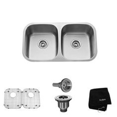 KRAUS All-in-One Undermount Stainless Steel 32-1/4x18-1/2x9 0-Hole Double Bowl Kitchen Sink-KBU22 at The Home Depot