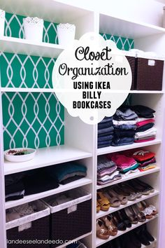 Closet Makeover: Ikea Billy Bookcases. The backwalls are painted and decorated with a vinyl pattern cut with a Silhouette. Simple wallpaper would do the trick too.
