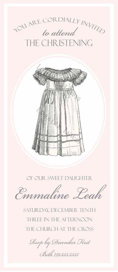 Invitation . Baby Gown Shower/Christening/Baptism Collection . by Loralee Lewis
