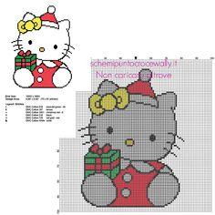 Hello Kitty natalizia con regalo di Natale schema punto croce da ricamare  70 x 91 6 colori DMC 87475c614c4b
