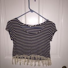 (NEGOTIABLE) Striped Crop Top! 💙 Charlotte Russe crop top in a size small. Beautiful fringe seems to be in great condition. x Maura Charlotte Russe Tops Crop Tops