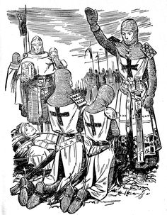 Adoubements - Le chevalier ménestrel Crusader Knight, Knight Armor, Medieval Life, Medieval Art, Medieval Castle, High Middle Ages, Knights Templar, Adult Coloring Pages, Coloring Books
