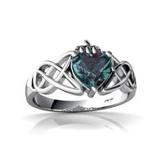 14K White Gold Heart Created Alexandrite Celtic Claddagh Knot Ring Size 4