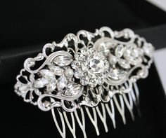 Art Deco Bridal Hair Comb, Filigree Wedding Comb, Vintage Wedding Hair Accessories, Pearl and Rhinestone Hair Piece. BELLA 2. (same company I got my wedding comb from!!)