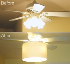 Add a drum shade to a tacky old ceiling fan to hide the dated glass shades, spray a coat of paint, and it ends up looking like something you might have actually paid good money for ;)  SO doing this to at least 2 of the 4 - yes, 4!!! - ugly ceiling fans in our condo!