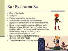 Egyptian Gods & Goddess. Ra / Re / Amen-Ra King of the Gods Sun ...