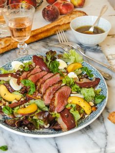 peach & duck magret salad with quail eggs & orange flower water dressing