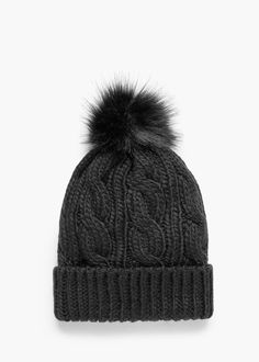 Pompon cable-knit beanie - Hats for Women Beanie Hats For Women, Winter Hats For Women, Knit Beanie Hat, Beanies, Bobble Hats, Cable Knit, Knitted Hats, Winter Outfits, Fashion Accessories