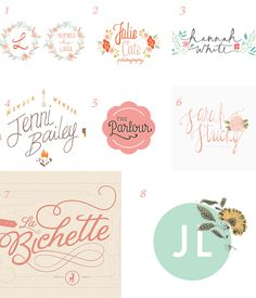 pretty logo designs: We love the handwritten fonts coupled with pastles and light/floral graphics. We're not committed to floral but love the idea of incorporating them in our design. Web Design, Blog Design, House Design, Logo Inspiration, Corporate Design, Illustration, Grafik Design, Graphic Design Typography, Identity Design