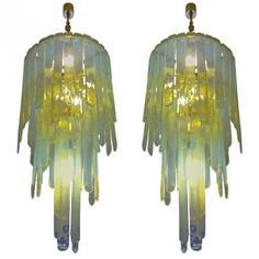 Beautiful Pair of Chandeliers by Carlo Nason for Mazzenga | Modernism