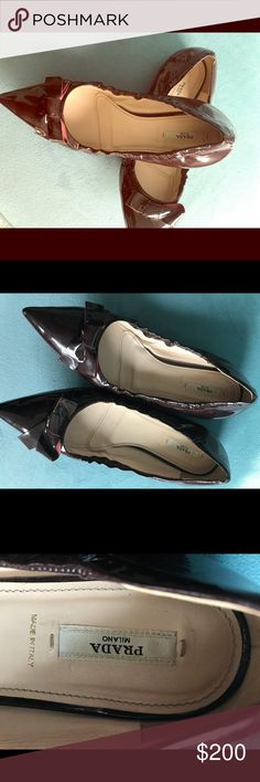Prada Flats Burgundy patent leather Prada Shoes Flats & Loafers