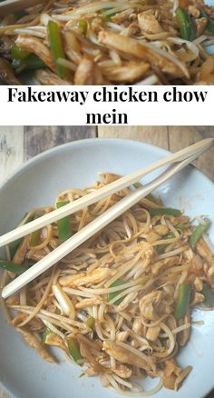 Fakeaway chicken chow mein. Easy to make and much cheaper and healthier than the chinese takeaway.  Amazing for Slimming World too.