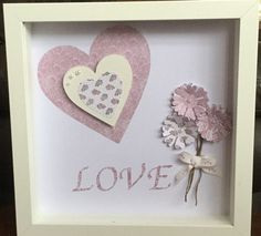 Beautiful box frame with dimentional hearts by HomemadebyAnnMarie White Shadow Box, Personalized Gifts, Handmade Gifts, Paper Roses, Flower Frame, Box Frames, Wedding Engagement, Messages, Unique Jewelry