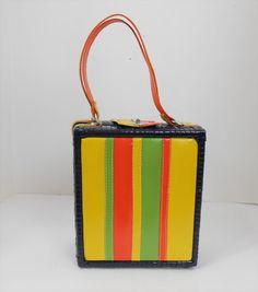 Vintage 70's Mod Straw & Vinyl Purse #Bounty