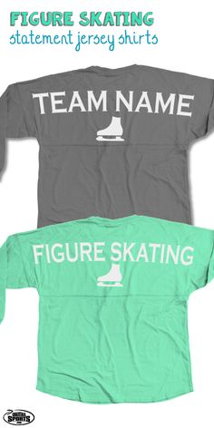 Our popular long sleeve crew neck Statement Jersey Shirts are over-sized shirts that are guaranteed to be super comfy and perfect for any day! Add your monogram to the front to make it a truly special gift for any figure skater! Only from ChalkTalkSPORTS.com!