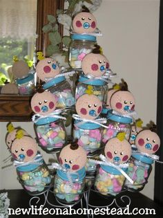 I LOVE making these for baby showers. And they are so simple! I saw a similar idea somewhere where they had made angels out out of these jars, and I thought ...