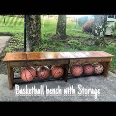 Home Basketball Court, Backyard Basketball, Sports Court, Backyard Storage, Backyard Patio, Backyard Landscaping, Backyard Ideas, Ball Storage, Bench With Storage