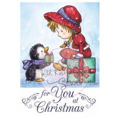 Tampon dessin Wild rose studio. Fille et Pingouin Cadeaux de Noël